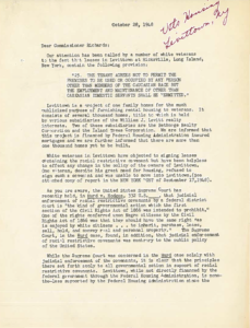 Fighting for fair housing has been on LDF's agenda since the beginning. Upon learning that the part of the financing for Levittown came from the Federal Housing Admin, Thurgood Marshall wrote a letter to the FHA Commissioner explaining the #SCOTUS case Hurd v. Hodge.