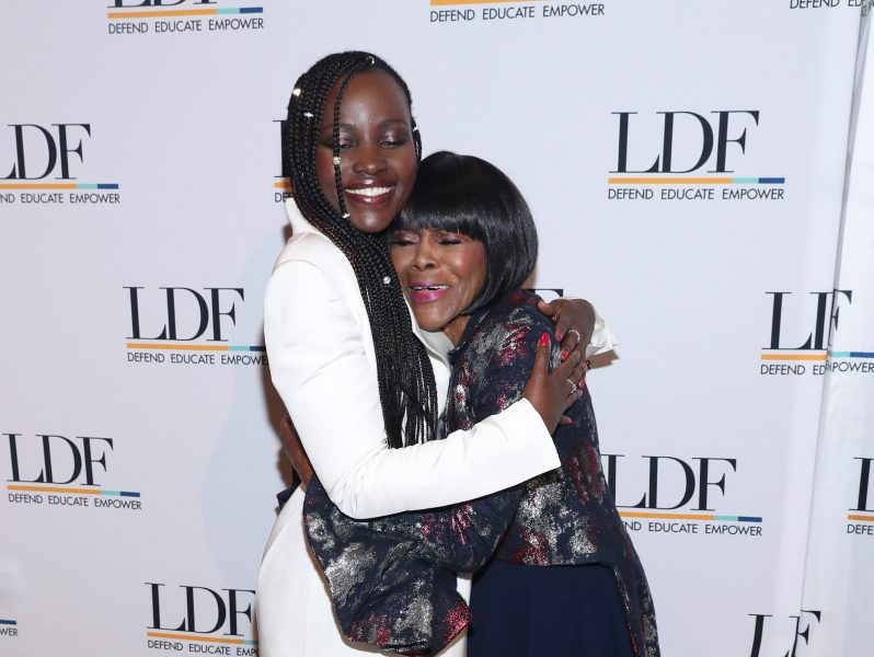 NEW YORK, NEW YORK - NOVEMBER 07: Lupita Nyong'o and Cicely Tyson embrace at the NAACP LDF 33rd National Equal Justice Awards Dinner at Cipriani 42nd Street on November 07, 2019 in New York City. (Photo by Bennett Raglin/Getty Images for NAACP LDF)
