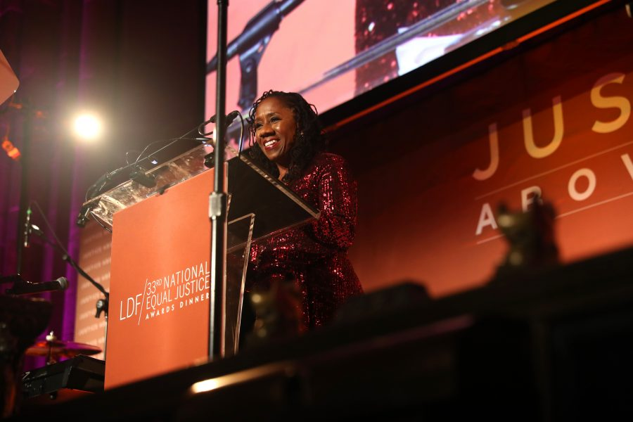 NEW YORK, NEW YORK - NOVEMBER 07: Sherrilyn Ifill speaks onstage during the NAACP LDF 33rd National Equal Justice Awards Dinner at Cipriani 42nd Street on November 07, 2019 in New York City. (Photo by Johnny Nunez/Getty Images for NAACP LDF)