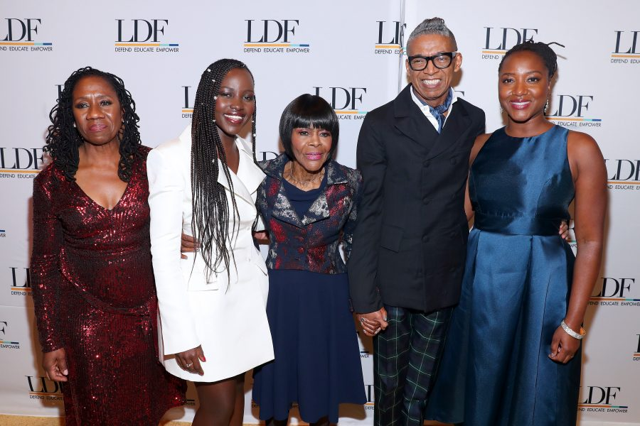 NEW YORK, NEW YORK - NOVEMBER 07: Sherrilyn Ifill, Lupita Nyong'o, Cicely Tyson, B. Michael, and Janai Nelson attend the NAACP LDF 33rd National Equal Justice Awards Dinner at Cipriani 42nd Street on November 07, 2019 in New York City. (Photo by Bennett Raglin/Getty Images for NAACP LDF)