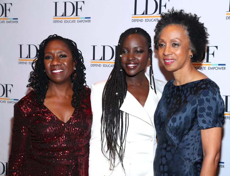 NEW YORK, NEW YORK - NOVEMBER 07: Sherrilyn Ifill, Lupita Nyong'o, and Nina Shaw attend the NAACP LDF 33rd National Equal Justice Awards Dinner at Cipriani 42nd Street on November 07, 2019 in New York City. (Photo by Bennett Raglin/Getty Images for NAACP LDF)