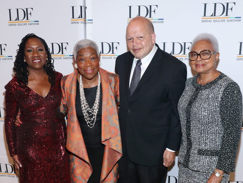 "NEW YORK, NEW YORK - NOVEMBER 07: Sherrilyn Ifill, Elaine Jones, Theodore ""Ted"" Shaw, and Billye Suber Aaron attend the NAACP LDF 33rd National Equal Justice Awards Dinner at Cipriani 42nd Street on November 07, 2019 in New York City. (Photo by Bennett Raglin/Getty Images for NAACP LDF)"