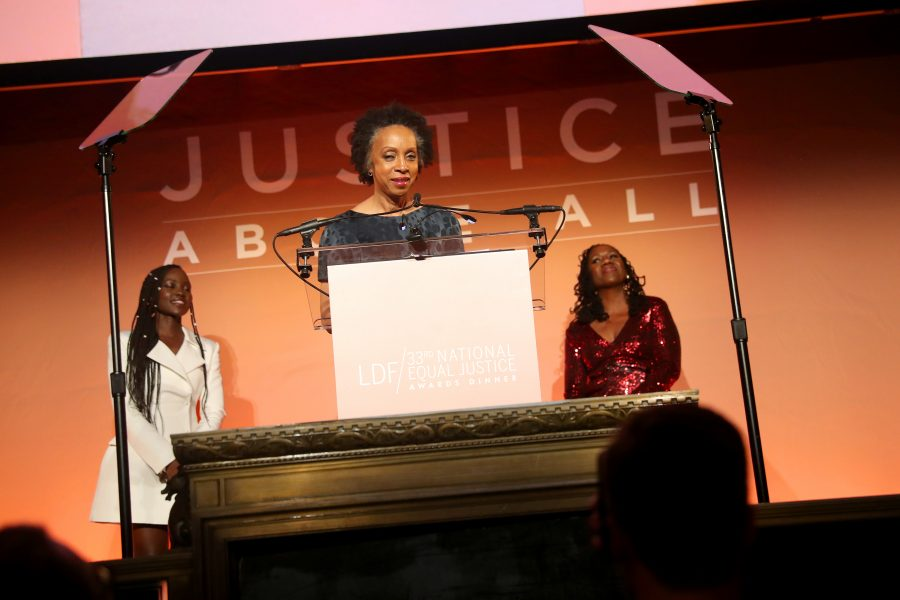 NEW YORK, NEW YORK - NOVEMBER 07: Nina Shaw speaks onstage to accept the National Equal Justice Award during the NAACP LDF 33rd National Equal Justice Awards Dinner at Cipriani 42nd Street on November 07, 2019 in New York City. (Photo by Johnny Nunez/Getty Images for NAACP LDF)