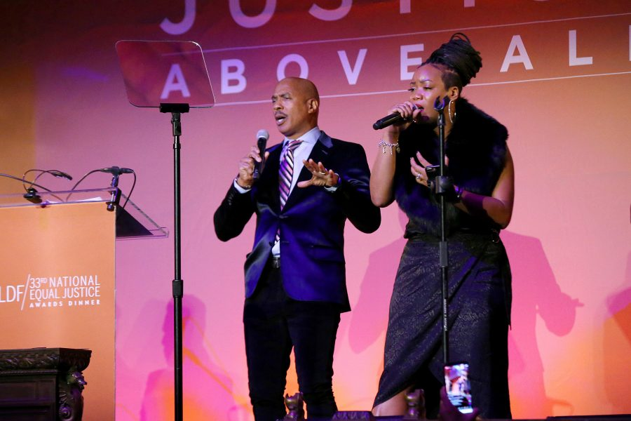 NEW YORK, NEW YORK - NOVEMBER 07: Ray Chew and Gloria perform onstage during the NAACP LDF 33rd National Equal Justice Awards Dinner at Cipriani 42nd Street on November 07, 2019 in New York City. (Photo by Bennett Raglin/Getty Images for NAACP LDF)