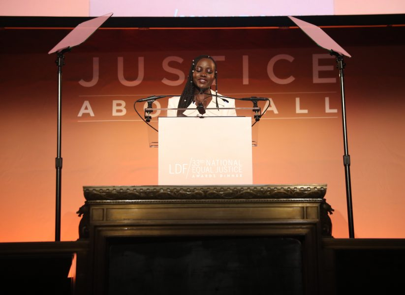 NEW YORK, NEW YORK - NOVEMBER 07: Lupita Nyong'o speaks onstage during the NAACP LDF 33rd National Equal Justice Awards Dinner at Cipriani 42nd Street on November 07, 2019 in New York City. (Photo by Johnny Nunez/Getty Images for NAACP LDF)