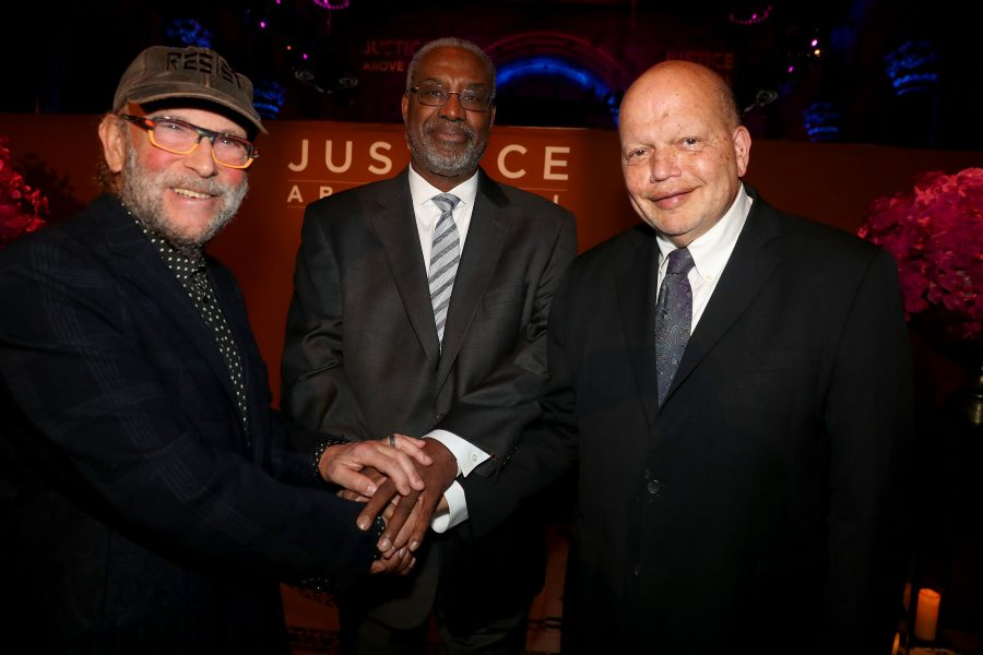 "NEW YORK, NEW YORK - NOVEMBER 07: Gerald Adolph, David Mills and Theodore ""Ted"" Shaw attend the NAACP LDF 33rd National Equal Justice Awards Dinner at Cipriani 42nd Street on November 07, 2019 in New York City. (Photo by Johnny Nunez/Getty Images for NAACP LDF)"