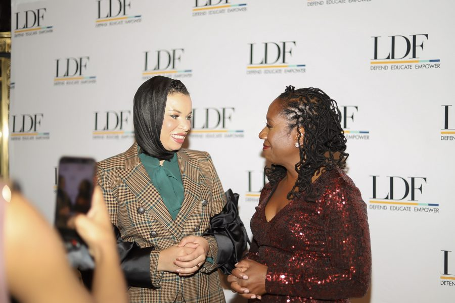 Blair Imani, social media correspondent, interviews Sherrilyn IFill on the NEJAD red carpet